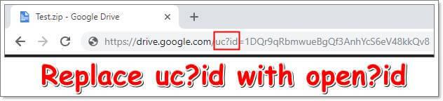 Change Google Drive URL