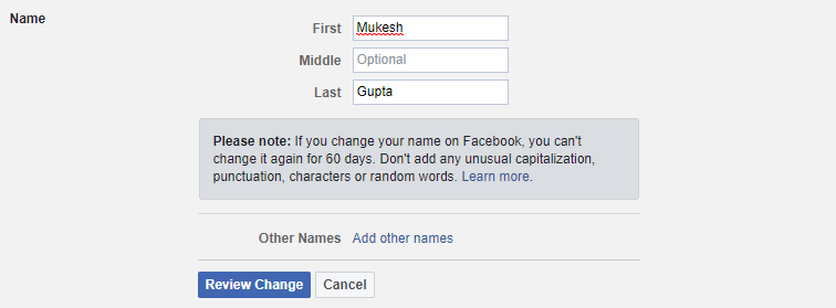 Facebook Profile Name Change Settings