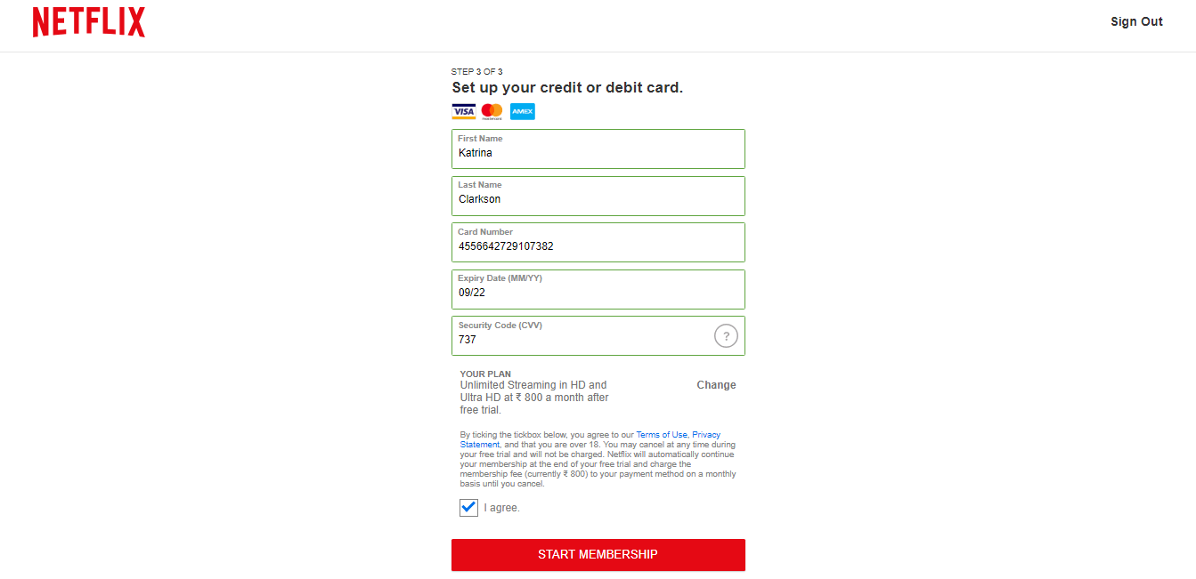 Set up your credit or debit card on Netflix