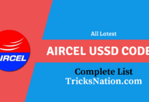 Aircel USSD Codes List